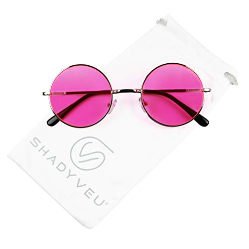 ShadyVEU - Retro Colorful Tint Lennon Style Round Groovy Hippie Wire Sunglasses (Hot Pink Lens, ()