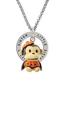 [Resin Monkey in Pumpkin Costume - Little Sister Affirmation Ring Necklace] (Sorority Sisters Costume)