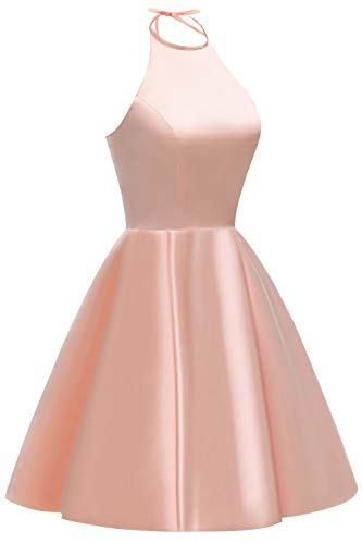 Beaded Homecoming Dress Short Evening line Halter A Belt Gown Pockets Women's Satin Without Party with White 14qgRAW
