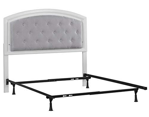 Hillsdale Furniture 7136HFR Lyndon Lane Upholstered Panel LED Lighted Headboard Frame, Full, White (Furniture Lyndon)