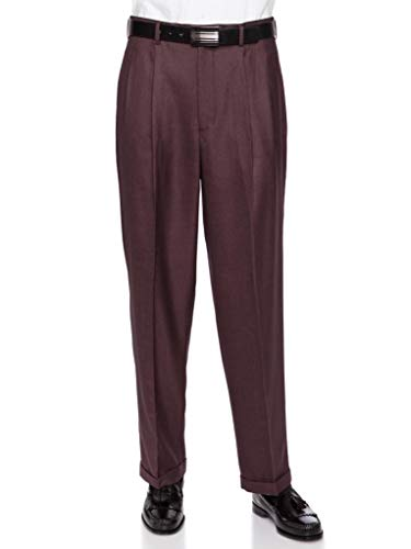 - GIOVANNI UOMO Mens Pleate Front Traditional Fit Dress Pant  Wine 40 Medium