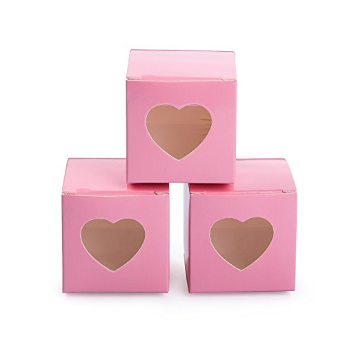 MOWO Pink Gift Boxes 2x2x2 inch with Clear Plastic Window for Candy Treat Gift Wrap Box Party Favor 50pc