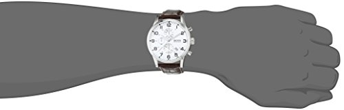 Hugo Boss Silver Dial SS Leather Chrono Quartz Mens Watch 1512447