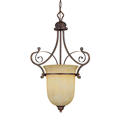 - Millennium 1053-RBZ One Light Foyer Hall Pendant with Bronze Finish, Dark