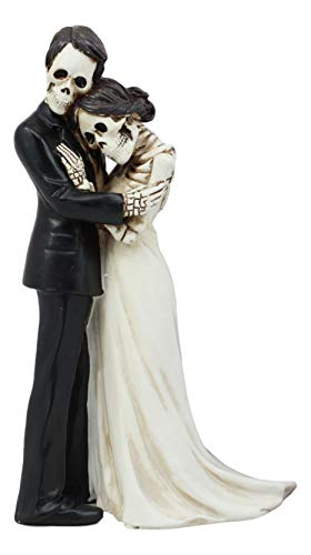 Ebros Love Never Dies Couple Wedding Bride And Groom Skeleton Embracing Cake Topper Figurine 6.25