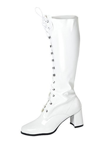 Knee High Boots - Fancy Dress Fashion Eyelet Boots - Size 10 UK - White Patent