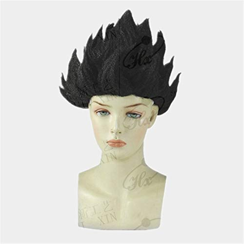 NEW Goku Cosplay Wigs Dragon Balls Super Saiyan Blue Black Yellow Goku Peluca Anime Men Adult Women Hair Flame Wigs Black]()