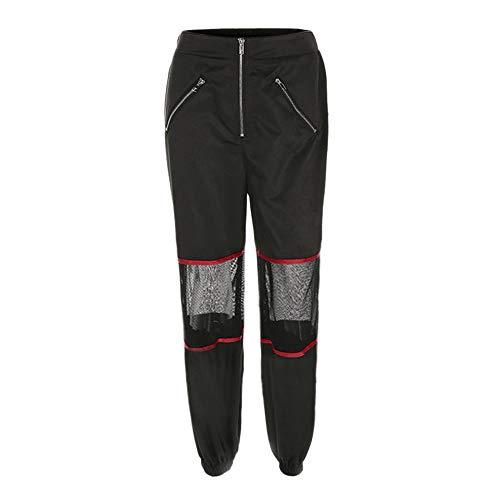 SANFASHION Pantalons Femme Taille Haut Chic Pants de Sport Ceinture Zippe Patchwork vider Sexy Amples Noir
