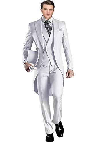 Men's Classic 3 Pieces Tux Suit One Button Regular Fit Long Tail Tuxedos(White,38S)