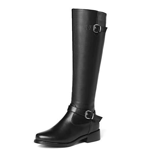 HAOLIEQUAN Les Femmes Noires À Glissière Bottes Bottes Bottes Bottes d'hiver De La Plate-Forme Chaussures Femmes Bottes Femmes Cuir Synthétique Taille 34-43 Moto 37|Black dfddba