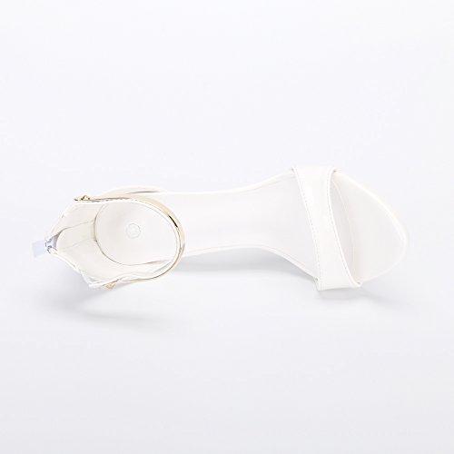 Haut Hauteur Ochenta Femme Blanc Aiguille Sandales Lanière Fesuedeeture 12cm Soirée Mariage Eclair Sexy Talon wUIFFAnTq