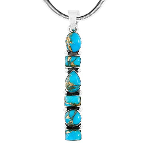 Gemstone Pendant Necklace 925 Sterling Silver & Genuine Turquoise & Gemstones (20
