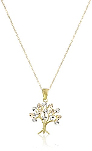 (14k Yellow Gold Family Tree of Life Pendant Necklace,)