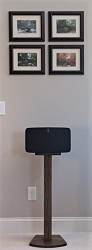 Beautiful Wood Speaker Stand Handcrafted Compatible for SONOS Play 5 (2nd Generation) Made in U.S.A. Single Stand. Dark Walnut (Oak Pedestal Speakers)