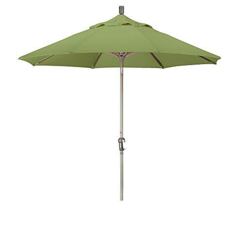 California Umbrella 9' Round Aluminum Market Umbrella, Crank Lift, Auto Tilt, Champagne Pole, Pacifica Palm