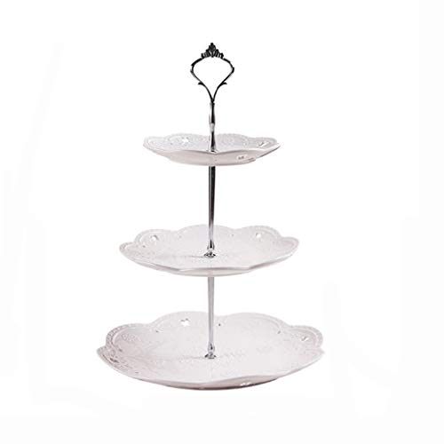 Nosterappou Cake stand, fashion fruit plate, buffet display stand dessert table decoration, ceramic fruit plate cake plate afternoon tea snack tray, lead-free environmentally friendly glaze color unif ()
