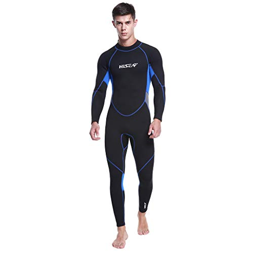 Iusun Men 's One Piece Wetsuit Long Sleeve Printing Bodysuit 3MM Full Body Cover Neoprene Swimwear Swim Suit Super Stretch UV Protection- Perfect for Swimming/Scuba Diving/Snorkeling/Surfing