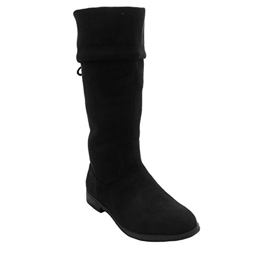 Blue Womens Suede OR Synthetic Low Heel Mid Calf Fashion Dress Boots 2017 -KOOLIO-H Black - Kids H M Nyc And