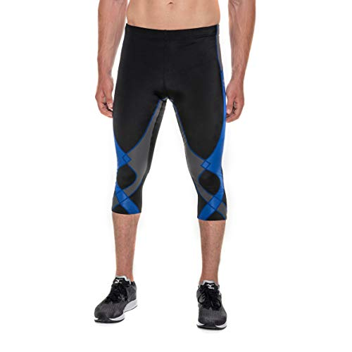 (CW-X Men's Stabilyx Joint Support 3/4 Compression Tight, Black/Grey/Blue, Large)