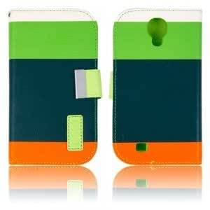 PU Leather Protective Case with Colorful Stripes for Samsung i9500 Green