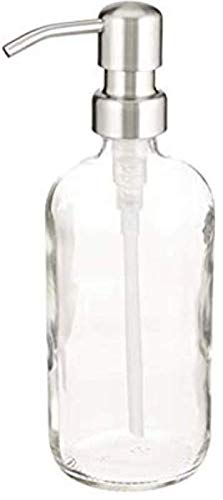 Industrial Rewind Clear 8oz Glass Soap Dispenser with Stainless Pump - Soap Bottle or Lotion Bottle