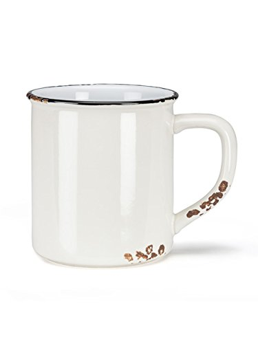 "Set 6 Pieces 3"" Stoneware Ivory Enamel-Look (14Oz) Tea Coffee Latte Cup Mug"