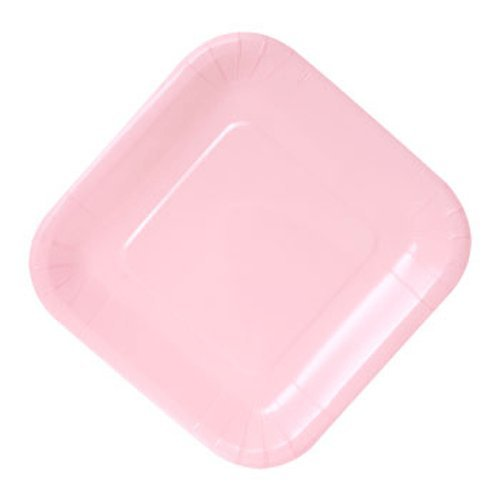 7 Square Plates Dessert (Party & Catering Supplies - Square Light Pink Paper Party Plates, 7