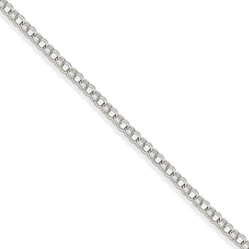 Top 10 Jewelry Gift 14k White Gold 3.5mm Solid Double Link Charm Bracelet by Jewelry Brothers Bracelets