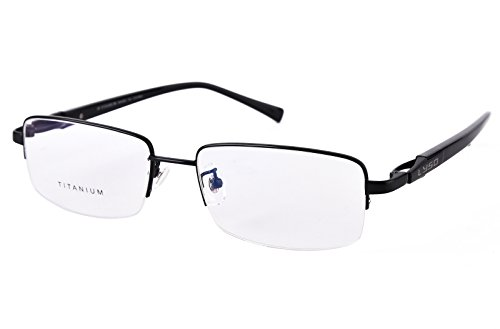 Agstum Titanium Half Rim Glasses Frame Prescription 55-18-145 (Black)
