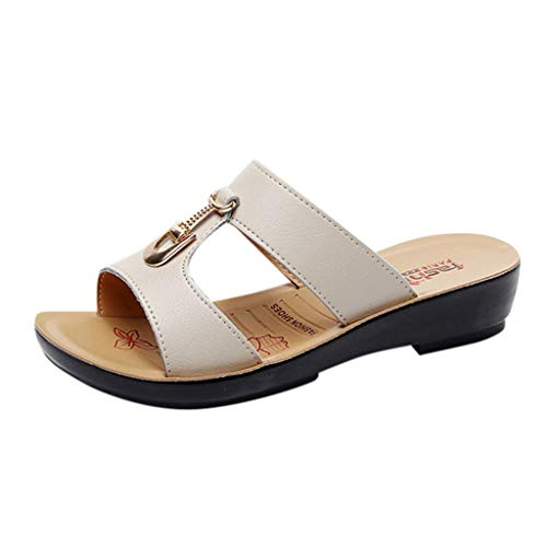 Oliviavan Women Wedges Sandals Fashion Ladies Metal Button Solid Slippers Soft Low Heel Beach Shoes Beige