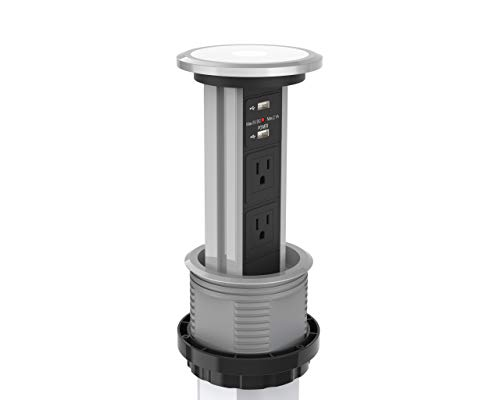 Automatic LED Motorized Pop Up Power Point Outlet Socket with USB Charging Retractable Hidden Recessed Sealed for Kitchen Bench-top Office Home Charging Station V3C-US Warranty Modern Power Solutions