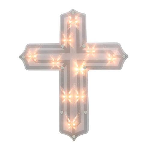 "Northlight 14"" Lighted Religious Cross Easter Window Silhouette Decoration"
