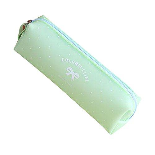 Oksale Bowknot Silicone Zipper Pencil Pen Case School Stationery Pouch Pocket Storage Bag (Mint - Victoria Ship Justice