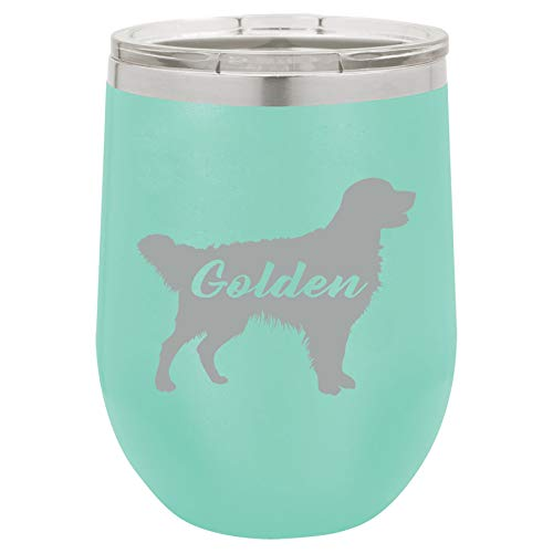 (12 oz Double Wall Vacuum Insulated Stainless Steel Stemless Wine Tumbler Glass Coffee Travel Mug With Lid Golden Retriever 'Golden')