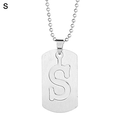 angel3292 Clearance Deals!26 Letters Alphabet Dog Tag Pendant Beaded Chain Stainless Steel Necklace