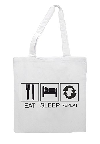 Shopper Hobby Activity Eat Funny Tiles White Repeat Sleep Tote Bag q8wIfA