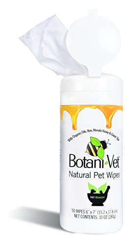 BotaniVet Natural Pet Wipes - 50 Count - 100% Natural & Organic Ingredients Biodegradable for Grooming Folds Allergies Ears Tear Staining