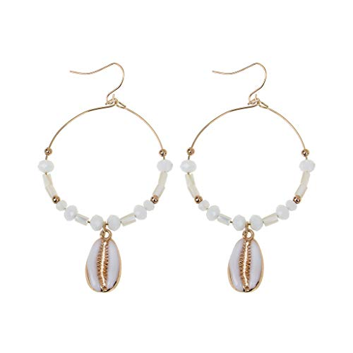 Shell Round Circle Stone Beaded Drop Earrings Summer Seaside Jewelry ()