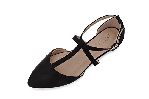 mens Pointed Toe Ankle Wrap T-Strap D'Orsay Flats,BLACK9 ()