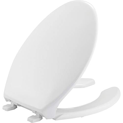 BEMIS 1950 000 Commercial Heavy Duty Open Front Toilet Seat with Cover and No Slam Hinges, ELONGATED, Plastic, White ()