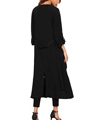 Manica Spacco Outerwear Vento Casual Inclusa Colore Donna Cintura Schwarz Autunno Vintage Lunga Puro Giaccone Parka Giacca Moda BpqwHqxPv