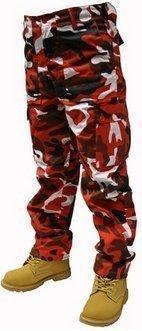 Ejército de pantalones de tamaños diferentes para adultos con bolsillos laterales para combatir W30-inch - 127 cm, L30 pulgada & 32 (16 Ranura de!) Red Camo