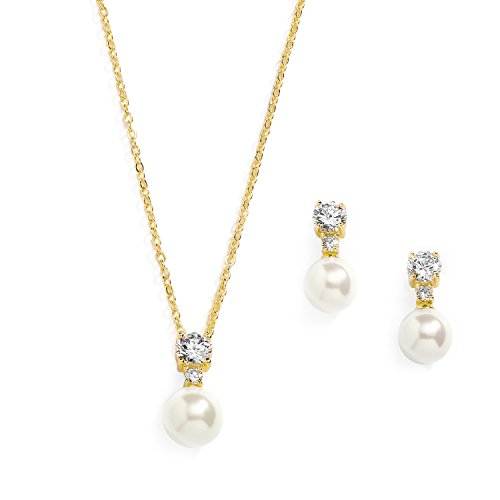 Mariell Gold CZ & Ivory Pearl Wedding Necklace and Earrings Jewelry Set for Bridesmaids & Brides - Faux Pearl Wedding Bridesmaid Earrings