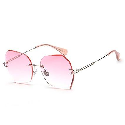 TIANLIANG04 Carré Sans Monture Lunettes De Soleil Femme Hommes Lunettes De Soleil Gradient G Uv421,C3 Silver Pink