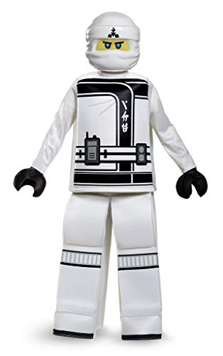 Disguise Zane Lego Ninjago Movie Prestige Costume, White, Large -