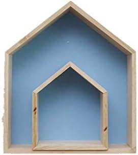 VNEIRW_HOME Großes Haus + Kleines Haus Wooden House Shelf Display Units Einzigartige Home Hanging Zweiteiliger Anzug in Hausregalgröße für Kinderzimmer