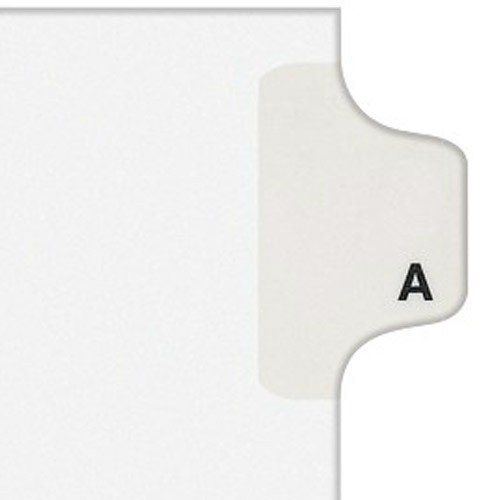 - Avery 01401 Exhibit Side Tab Divider, Printed: A, Letter Size, White, 25/Pack