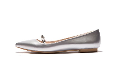 Solid 36 PU On Toe No Odomolor Pointed Pull Heel Women's Silver Shoes Pumps qIR7q1wO
