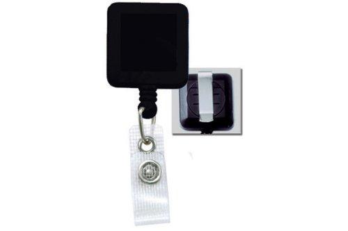 Black Square Badge Reels - Belt Clip - Reinforced Vinyl Strap (100pk)