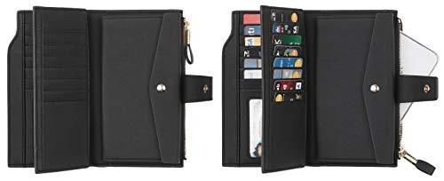Travelambo Womens RFID Blocking Large Capacity Luxury Waxed Genuine Leather Clutch Wallet Multi Card Organizer